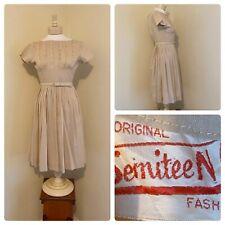 New listing Vtg 50s Semiteen Tan Lace Full Skirt Day Dress Swing Shirt Dress Vlv sz 10 Small