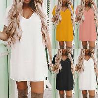 Summer Women's Short Sleeve V-Neck Casual Loose T Shirt Tops  Ladies Mini Dress