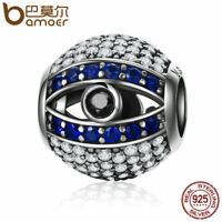 Bamoer .925 Sterling Silver Eye charm With Blue&Clear CZ Fit Bracelets Jewelry