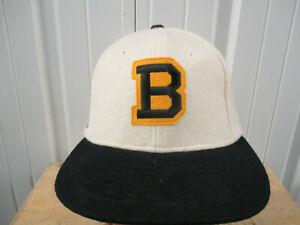 VINTAGE ROMAN NHL BOSTON BRUINS BEIGE W/ BLACK BRIM SEWN SNAPBACK HAT CAP 80s