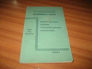 BILLARDS ASSOCIATION HANDBOOK & RULES 1960-61 SNOOKER POOL