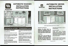 Maytag Automatic Washer/Dryer Instructions Guides Rare Vintage Factory Original