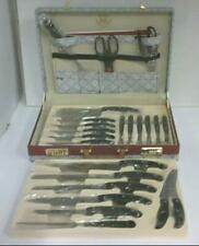 New Royal Germany 24pc Kitchen Knife Set with Leather Storage Case $180