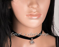 Black Velvet Ribbon Silver Round Button Stud Sun Charm Pendant Choker Necklace