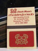 Rare Vintage Matchbook Cover H2 Sarasota Florida Chuck Muer's Charley's Crab