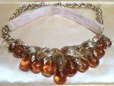 Trifari Necklace Vintage Topaz Poured Glass Dangles Rhinestones Alfred Phillipe