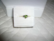 CHARM PERIDOT HEART RING SET IN STERLING SILVER 925 BEAUTIFUL GREEN STONE NICE