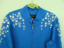 Bob Mackie Square Jeweled Jacket XL 50 Bust Blue Embellish Zip Denim Relaxed QVC