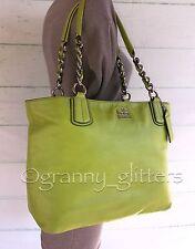 Coach Large Madison Kiwi Lime Green Leather Shoulder Handbag Tote Bag 20466~RARE