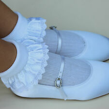 Childrens IVORY & WHITE RIBBON Trim SOCKS Bridesmaids Communion Christening