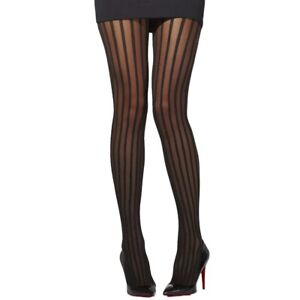 Burlesque, retro pin-up style hosiery black solid sheer vertical stripe tights