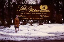 Woman Lake Minnewaska Sign New York Vintage 1960's Kodachrome 35mm Slide B23