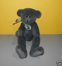 """18"""" Navy Blue Fur Classic/Jointed Teddy Plush Signed Artists Foot Anita, 1999"""