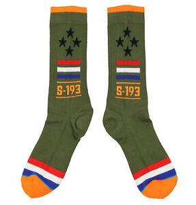 STANCE MA-1 Crew Socks sz L Large (9-12) Olive Green Orange US Military MA1