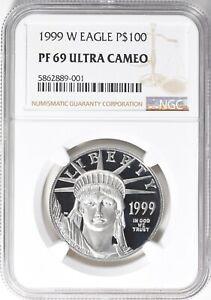 1999 W American $100 Eagle Platinum Proof 69 NGC ultra cameo-Gem caviar  Proof