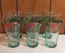 "6 Vintage LIBBEY COCA COLA CHRISTMAS GLASSES Pine Cone Holly Garland 6"""