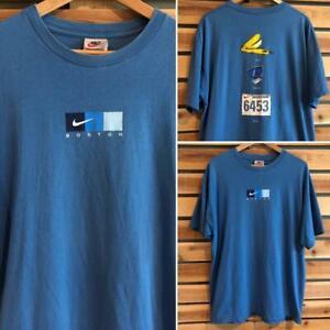 USA Made VTG 90s Nike Boston Marathon Run Running Center Swoosh T Shirt L/XL