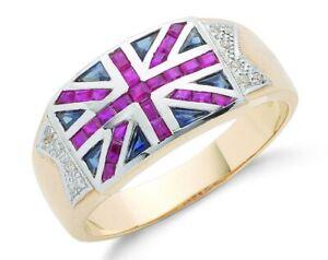 9ct Yellow Gold Union Jack Mens Ring Diamond, Ruby & Sapphire - UK Jewellers