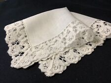 #6409🌟Vintage Fancy Weighty Floral Lace Linen Wedding Handkerchief Heirloom