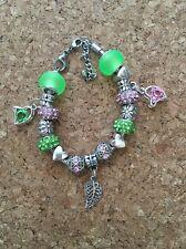 Alpha Green Ivy and Pink Charm Bracelet Kappa With Leaf Charms