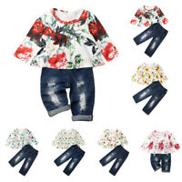 US Toddler Baby Kid Girl Dress Top T-shirt+Denim Ripped Pants Outfit Clothes Set