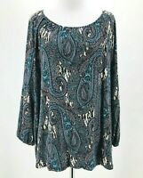 Dana Buchman Women's Blue Paisley Print Long Sleeve Scoop Neck Blouse Size XL