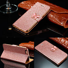 Crystal Butterfly Sparkle Glitter Card Wallet Cases Flip Cover For Samsung Apple