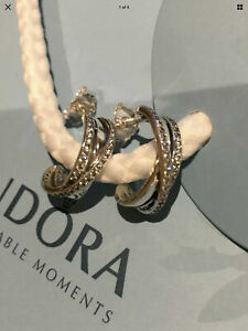 Genuine Pandora Entwined Hoop Earrings S925 ALE