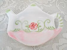 Collectible Hand Painted Pink w/Rose Teapot Shaped Ceramic Teabag Caddy/Holder