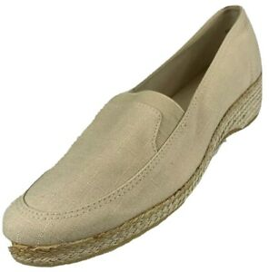 $70 Grasshoppers Women's Size 8.5W Wide Espadrille Canvas Loafers Comfort Flats