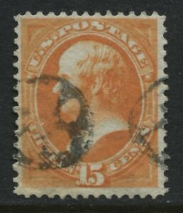 USA 1873 15 cent Daniel Webster yellow orange used (JD)
