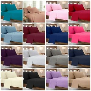 Poly Cotton Luxury Non-Iron Percale Fitted Sheet Single Double King Super King