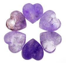 "CARVED - (1) 1"" AMETHYST Crystal Heart with Description & Pouch - Healing Stone"