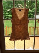 LACE Sleeveless Top A BYER CREAM Beige Boho Chic Lined V-Neck EUC