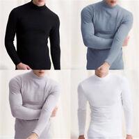 Men's Warm T-shirt Long Sleeve Turtleneck Jumper Undershirt High Neck Tee Tops