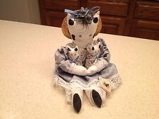 Country Style Momma Cat W/ Kittens Rag Doll W/ Straw Hat Tagged & CLEAN