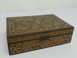 (ref288CF) Superb Decorated Inlaid Wooden Box 21cm x 14cm x 6cm