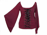 Red Stretchy Lace Up Gothic Vampire Corset Jersey Top S M L XL 1X 2X Plus Size