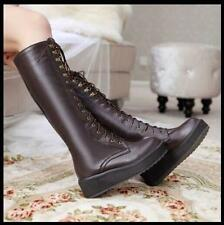 Chic Ladies Knee-High Platform Creeper Rock Lace Up Punk Gothic Boots Shoes Size