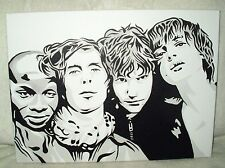 Canvas Painting The Libertines Black & White Art 16x12 inch Acrylic