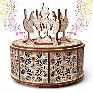 Wood Trick Dancing Ballerina Music Box Mechanical Wooden 3D Puzzle DIY Kit Set