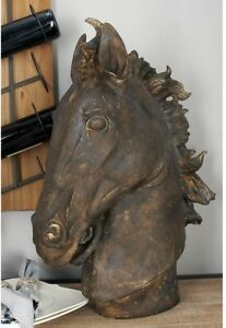 Rustic Horse Head Sculpture Stallion Statue Figurine ~ Textured Distressed Brown