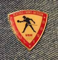 Table Tennis Olympic Pin ~ Sponsor~ Beatrice ~ Hunt ~ Wesson ~ 1988 Seoul, Korea