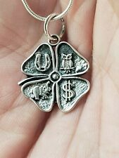 925 Sterling Silver Good Luck Clover Pendant Includes Italian Snake Chain