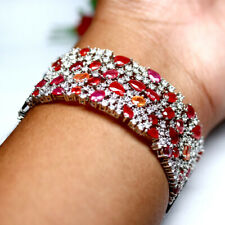"""NATURAL FANCY CLR SAPPHIRE RUBY & CZ BANGLE 2"""" X 2.5"""" 925 STERLING SILVER"""