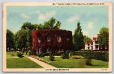 Round Tower at Fort Snelling in Minneapolis, Minnesota Linen Postcard