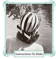 Vintage ribbon bowed hat sewing pattern,instructions & full size paper pieces