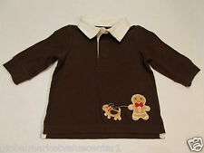 Gymboree Infant Boys Brown Gingerbread Dog Top Long Sleeve Shirt 6-12 Mos. NWT