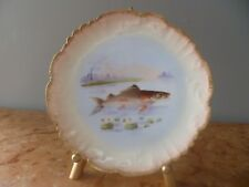 New listing Set (4) Limoges France hand painted fish plates, with Gold Scalloped edges