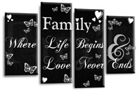 LARGE FAMILY QUOTE BLACK AND WHITE CANVAS WALL ART PICTURE 4 PANEL SPLIT